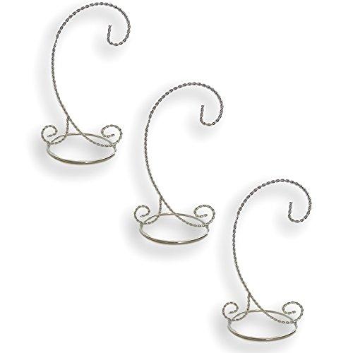 BANBERRY DESIGNS Silver Christmas Ornament Stands - Set of 3 Ornament Display Stands - 11-inch Ornament Holders - Chrome ()
