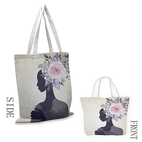 Shopping work bag Watercolor Lady with Flower Head Spring Rose Branches Feminine Woman Design Cosmetic bag 16.5
