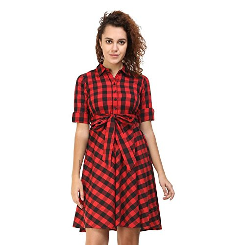 9054ca5e44bc Black   Red Checks Womens Dress By Twenty Whites