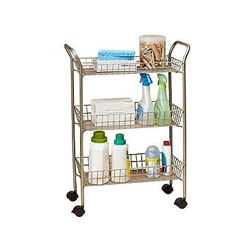 Bathroom Cart On Wheels. Convinient 3 Tier Rolling Bath Cart With Locking Wheels In Matte Nickel