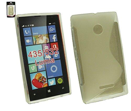 Emartbuy® Value Pack For Microsoft Lumia 435 / Lumia 435 Dual Sim Pellicola Protettiva + Ultra Slim Grip Gel de la piel cubierta de la caja Azul + Compatible Micro USB Car Charger Claro Ultra Slim Gel