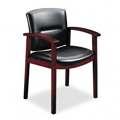 HON 5003NSS11 5000 Series Park Avenue Guest Chair, Black Leather/Mahogany Finish