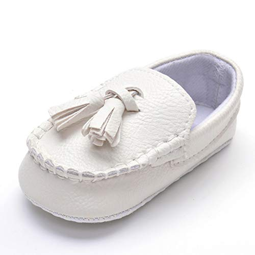 ESTAMICO Infant Baby Boys' Tassels Moccasins Soft Sole Loafer Shoes Prewalker White 12-18 Months
