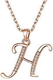 925 Sterling Silver Initial Letter Pendant Necklace for Girls, Rose Gold