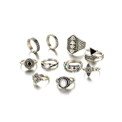 ANGELANGELA Vintage 10Pc/Set Diamond Antique Silver Stacking Rings, Joint Above Knuckle Nail Midi Band Statement Stackable Cuff Toe Finger Ring Set, Feather Arrow Wide Men Band