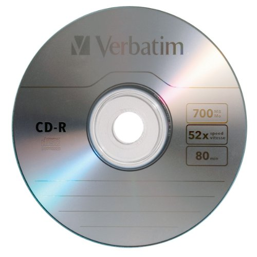 Verbatim 700 MB 52x 80 Minute Branded Recordable Disc CD-R, 50-Disc Spindle 94691