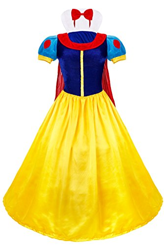 iEFiEL Adult Princess Queen Costume Dress Halloween Ball Gown Blue L (Queens Gown Adult Costume)