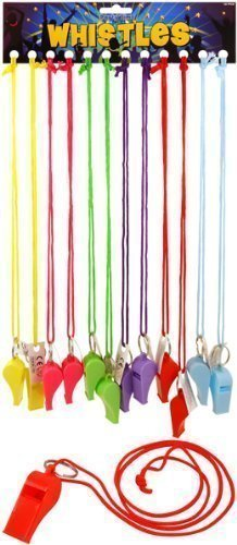 HENBRANDT 12 x Neon Colour Plastic Whistles with cord