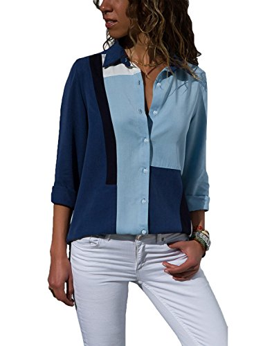Color Block Stripes Blouse for Women Summer Button-Up Shirts Tops with Roll-up Long Sleeve Blue5 M