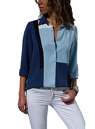S EU36 Femme 52 XL L Fonc XXL Bleu Blouse Top Col Mode Multicolore M Chemisier Tunique Longues V FIYOTE Mousseline Manches 6xw7qfCq