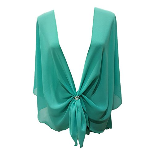 eXcaped Women's Evening Shawl Wrap Sheer Chiffon Open Front Cape and Silver Scarf Ring (Jade)