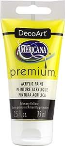 DecoArt Primary Yellow Americana Premium Acrylic Paint Tube 2.5oz