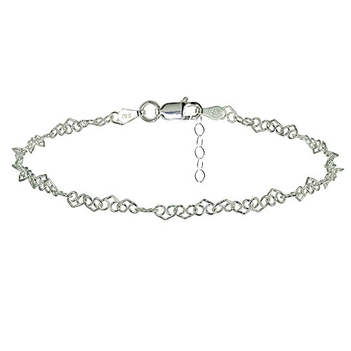 Chain Silver Toe Ring (Sterling Silver Fancy Heart Link Chain Anklet)
