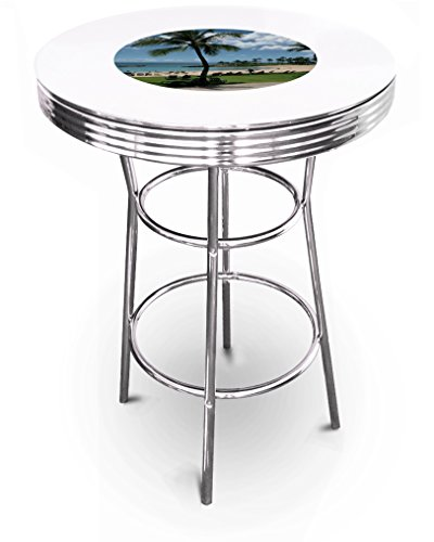 New Hawaii Beach Themed 42'' Tall Chrome Metal Bar Table with White Table Top by The Furniture Cove