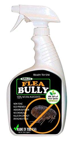 Flea Bully - Organic All Natural Non Toxic Flea & Egg Killer Spray & Shampoo for Pets, Animals, Furniture & Surfaces (32 oz)