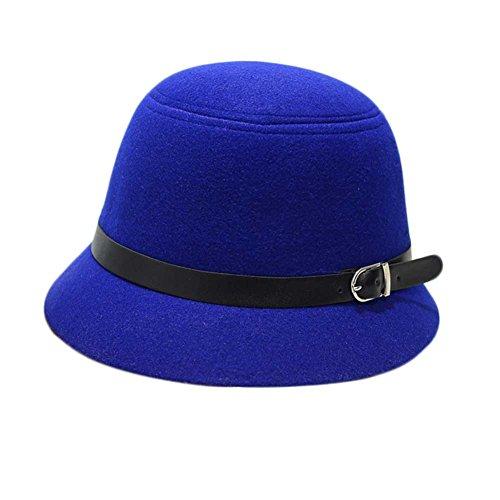 MIOIM Women English Classic Style Felt Cloche Hat Flower Leaves Fedora Bowler - Tall English Hat