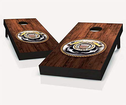 - Floating Pong Coast Guard Medal Cornhole Board Set, 2x4, Wood, Regulation Size, Includes All Weather Bags + Boards Carrying Case