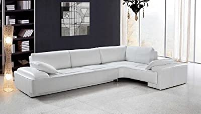 Vig Furniture Blanco - White Leather Modern Sectional