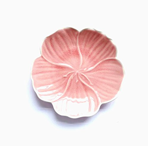 Plate Blossom Cherry (Hoocozi Porcelain Cherry Blossom Plate, Small Flower-Style Sushi Ceramic Dish, Pink, 1Pce, 5.7
