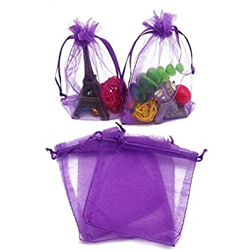 Bolsos de organza de color púrpura, 100 PCS 10X15 CM (4X6