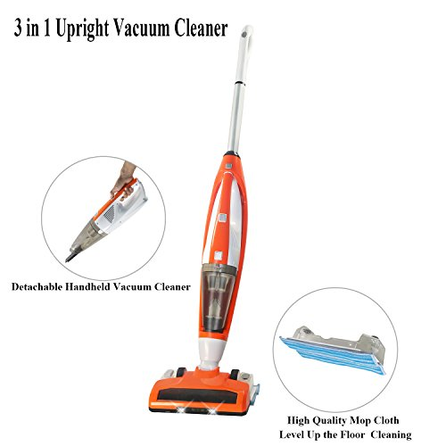FINE DRAGON 3-in-1, 3+1 Functions New Cordless Upright Stick Vacuum Cleaner, Handheld Vacuum and Bagless Sweeper Vac with Water Tank Wet/Dry Cleaning Mop for Carpet and Floor (Orange)
