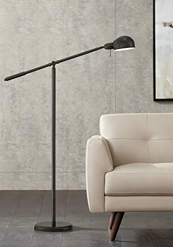 Modern Style Floor - Dawson Modern Pharmacy Floor Lamp Dark Bronze Adjustable Boom Arm and Head for Living Room Reading Bedroom Office - 360 Lighting