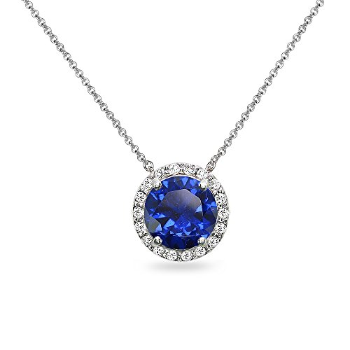 (Sterling Silver Created Blue Sapphire and White Topaz Halo Slide Pendant Necklace)