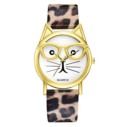 - Sodoop Watches for Women, Fashion Luxury Quartz Watch, Simple Cute Sweet Cat Dial Casual Thin Leather Belt Bracelet Set Woman's Watch
