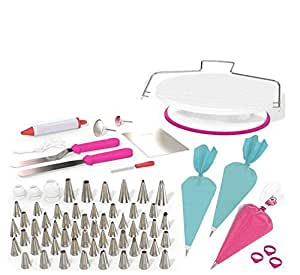 82 pcs Cake Decorating Kit - Cake Decorating Supplies with Cake Turntable - Extended Baking Supplies Kit with 54 Numbered Decorating Tips and Cake Leveler - Includes Pattern Chart-H