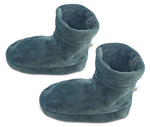 Heated/Microwavable Foot Warmer Booties/Boots with Drawstring Closure for Regular and Large Foots - Made of Super Soft Plush Fabric for an Extra Comfortable Feeling | 1 Pair, (Medium, Gray Color)