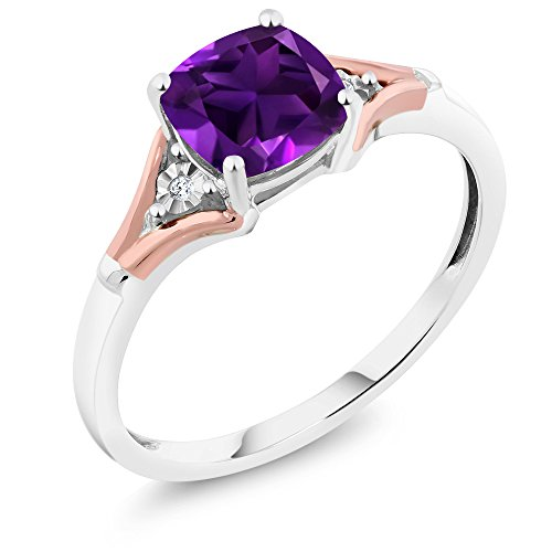 - 10K Two-Tone Gold Purple Amethyst and Diamond Women's Ring 1.40 Ct Cushion Cut (Size 6)