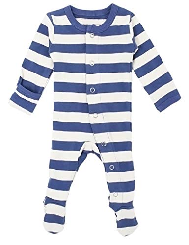 L'ovedbaby Unisex-Baby Organic Cotton Footed Overall (12-18 Months, Slate/Beige Stripe)