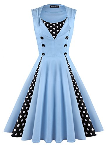 KeZheXi Women's Polka Dot Retro Sleeveless Vintage 1950s Rockabilly Evening Party Cocktail Swing Dress (Light Blue, M) - 60s Pastel