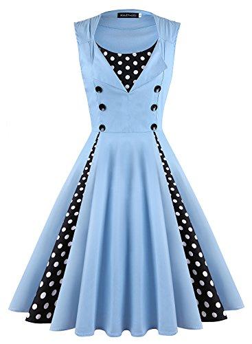 KeZheXi Women's Polka Dot Retro Sleeveless Vintage 1950s Rockabilly Evening Party Cocktail Swing Dress (Light Blue, M) - 60s Pastel