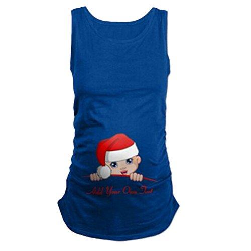 Zhhlinyuan Fashionable de gran tamaño Women's Baby Christmas Hat Printing Maternity Vest Plus Size Pregnancy Tops para mujer Blue
