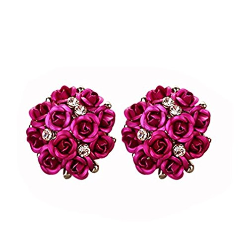 DZT1968 Women Girl Summer Bohemia Flower Anti-allergy Rhinestone Earrings (E)
