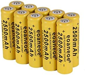 10Pcs 14500 Rechargeable Li-ion Battery 2500mAh 3.7V 14500 Lithium Battery Overcurrent Protection Long Lasting,for LED Flashlight Torch,Most Battery Device