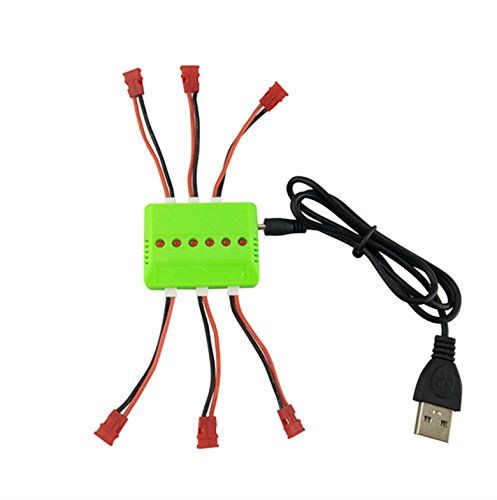alanced Current USB 6 In 1 for 3.7V (1S) Lithium Ion Battery Quadcopter Drone Syma X1 X5C X5SW X5HW X5HC X5UW, Hubsan H107D H107 X4 With Convert Cable Green ()