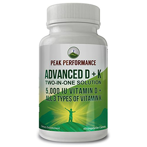 Advanced Vitamin D 5000 IU + All 3 Types of Vitamin K by Peak Performance. Vitamin D3 and Vitamin K2 MK-7 (MK7) K2 MK4 K1 Supplement! 60 Small & Easy to Swallow Vegetable Capsules/Pills (5000 IU)