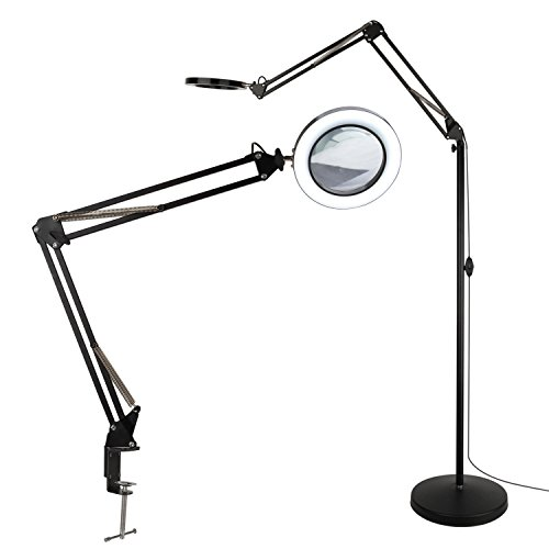 TOMSOO 2-in-1 LED Magnifying Floor Lamp with Utility Clamp, Cool White/Warm White Bright Full Spectrum Magnifier Lighted Glass Lens - Adjustable Stand and Swivel Arm Light - for Reading Task (Black)