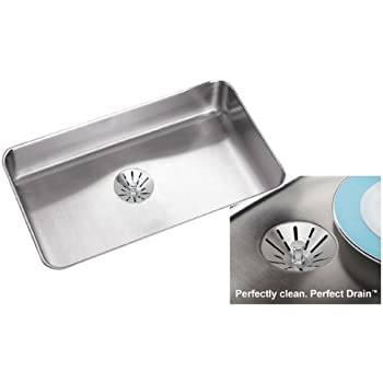 Medium image of elkay eluhad2816pd 55 satin stainless steel gourmet ada compliant undermount single bowl kitchen sink package
