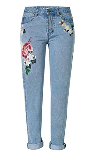 Button Fly Embroidered Jeans - 6