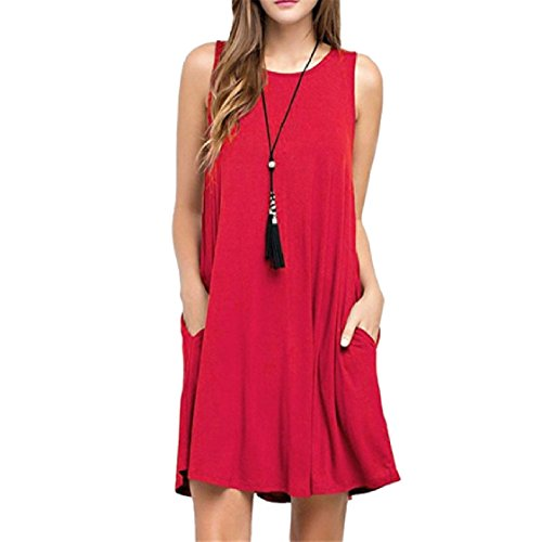 Crew Red Pockets Women Neck Dress Sun Coolred Pure Colour Sleeveless Lounge pawqY