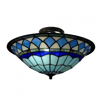 feiyan Craftsman Style Tiffany Mediterranean Three Light Flush Mount Ceiling Light (Mediterranean Wall Mounts Lighting)