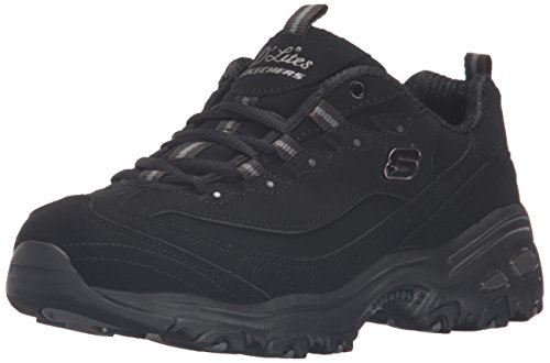 Skechers Sport Women's D'Lites Memory Foam Lace-up Sneaker,Black/Black,7 M US