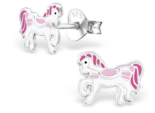 Pony Earring (Hypoallergenic Sterling Silver White & Pink Royal Pony Stud Earrings for Little Girls (Nickel Free))