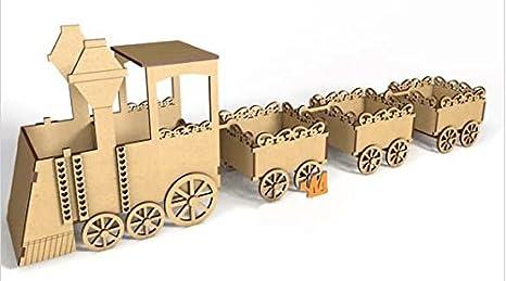 Kit para hacer tren de madera DM para candy bar mesa dulce. Manualidades con madera: Amazon.es: Hogar