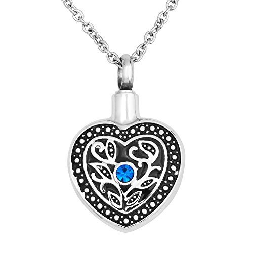 Infinite Memories Heart Vine Leaves Pendant Urn Necklace for Cremation Keepsake Ashes Women Mom Grandma