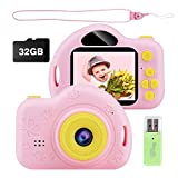 Kids Camera, Digital Video Camera Children Creative DIY Camcorder with Rechargeable Battery Birthday / Christmas / New Year Toy Gifts for 3 4 5 6 7 8 9 10 Year Old Girls with 32GB SD Card -Pink