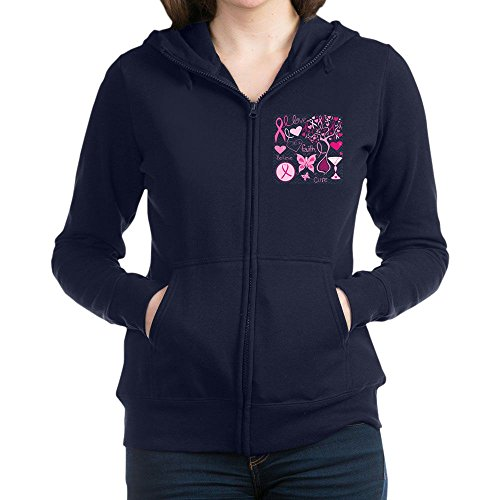 Royal Lion Women's Zip Hoodie (Dark) Cancer Cure Awareness Love Support - Navy, 2X